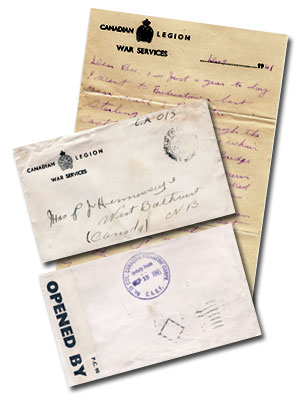 A sample of the nearly 300 letters that were found in the attic of the Hennessy Estate, Bathurst, New Brunswick, Canada.